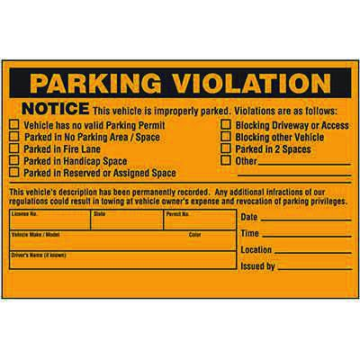 Vehicle Is Improperly Parked Violation Warning Labels