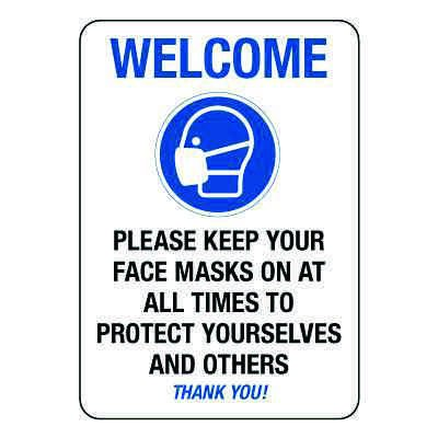 Please Keep Your Face Masks on at All Times Sign