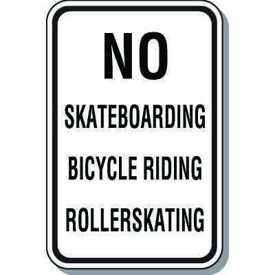 Property Protection Signs - No Skateboarding Bicycle Rollerskating