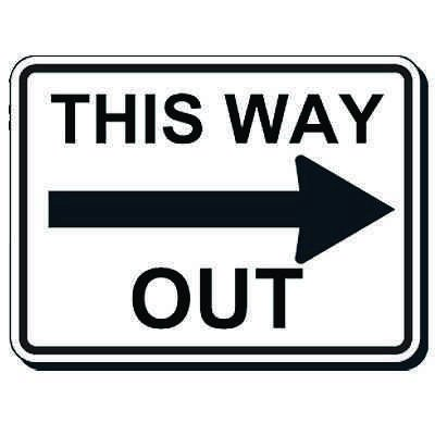 Reflective Parking Lot Signs - This Way Out (Right Arrow)
