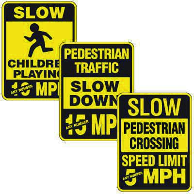 Reflective Pedestrian Crossing Signs - Custom Speed Limit