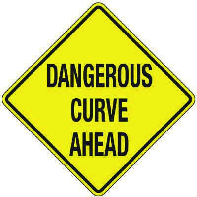 Reflective Warning Signs - Dangerous Curve Ahead
