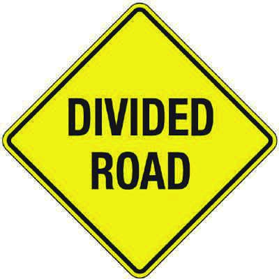 Reflective Warning Signs - Divided Road
