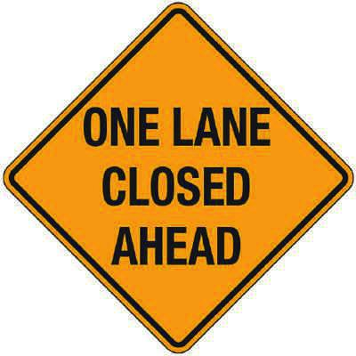 Reflective Warning Signs - One Lane Closed Ahead