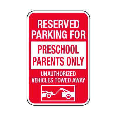 Reserved Parking For Preschool Parents Only - Preschool Parking Signs