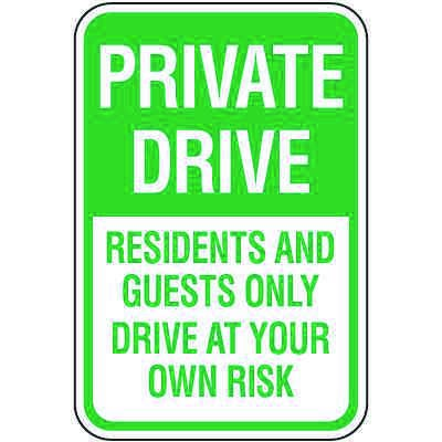 Reserved Parking Signs - Private Drive Residents Guests Only