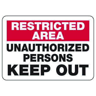 Restricted Area Signs - Keep Out