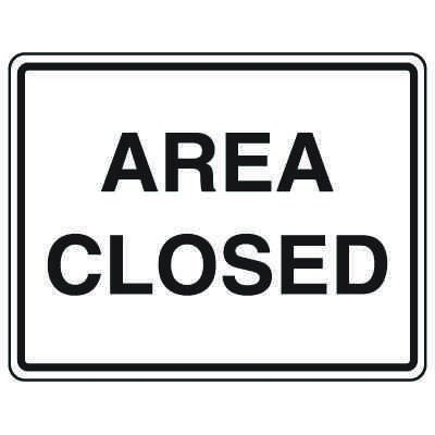 Road Construction Signs - Area Closed