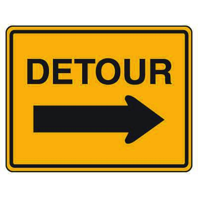 Road Construction Signs - Detour with Right Arrow