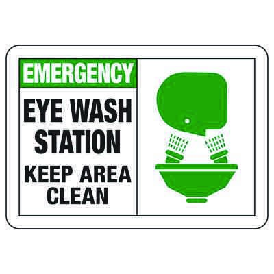 Safety Alert Signs - Emergency Eye Wash Station Keep Area Clean