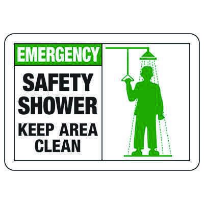 Safety Alert Signs - Emergency Safety Shower Keep Area Clear