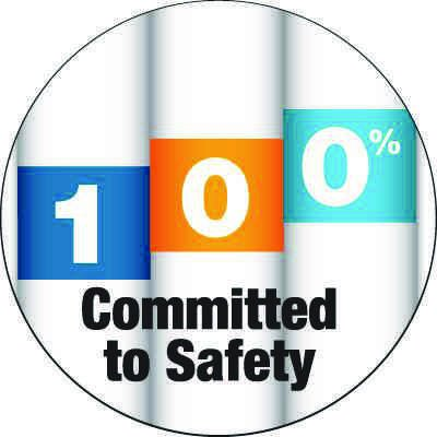 Safety Hard Hat Labels - 100% Committed to Safety