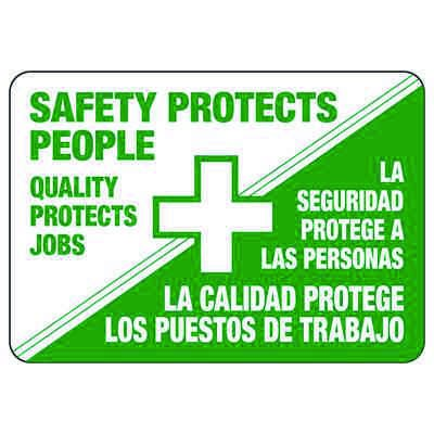 Safety Protects People (Graphic) - Bilingual Safety Reminder Signs