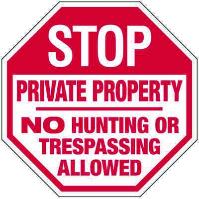 Private Property No Hunting Allowed - Industrial Security Stop Signs