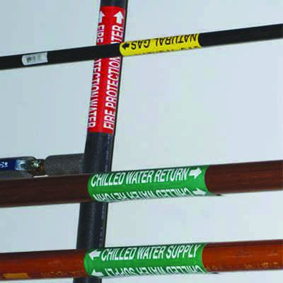 Self-Adhesive Wrap Around Pipe Labels - Hot Water