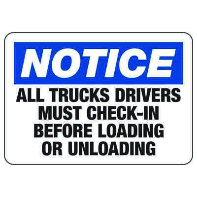Truck Drivers Must Check-In - Industrial Shipping and Receiving Signs