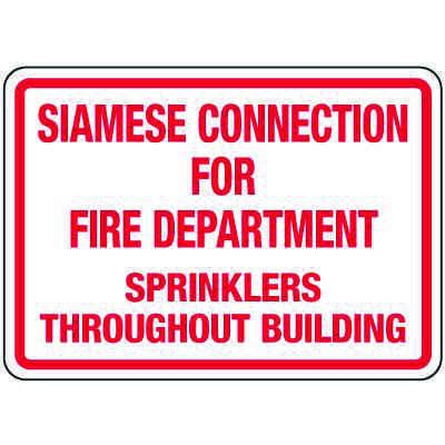 Siamese Connection Sign: Siamese Connection For Fire Department