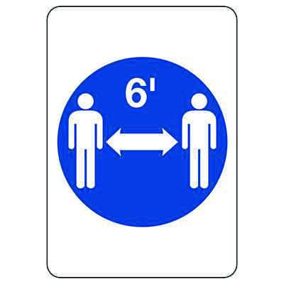 Six Feet Social Distance Graphic Sign