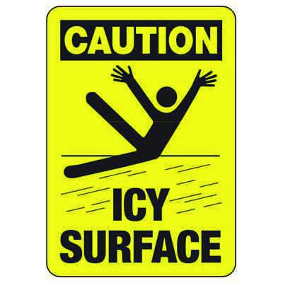 Caution Icy Surface - Industrial Slip and Trip Sign
