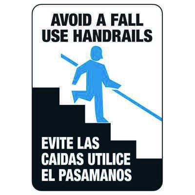Bilingual Avoid A Fall Use Handrails - Industrial Slip and Trip Sign