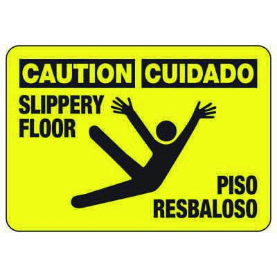 Bilingual Caution Slippery Floor - Industrial Slip and Trip Sign