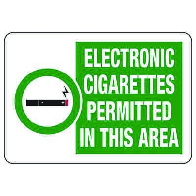 Electronic Cigarettes Permitted In This Area - No Smoking Sign
