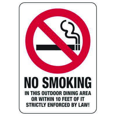 No Smoking In This Outdoor Dining Area - No Smoking Sign