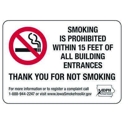 Iowa Smoke-Free Signs- Smoking Is Prohibited