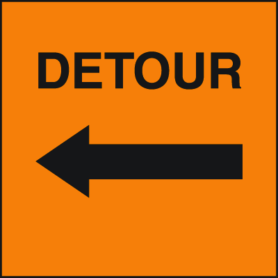 Standard A-Frame Detour Signs - Left Arrow