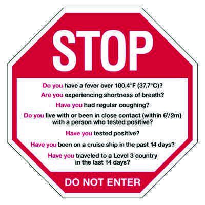 Stop For Covid-19 Screening Questions Sign
