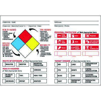 NFPA Target Organ PPE Chemical Hazard Label (English/Bilingual)