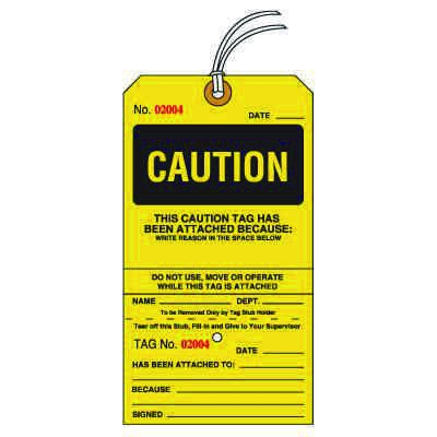 Caution Tear-Off Tags