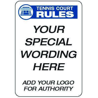 Tennis Court Rules  - Custom School Safety Signs