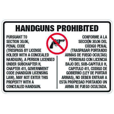 Texas Concealed Handguns Prohibited Sign  - Penal Code 30.06 Compliant