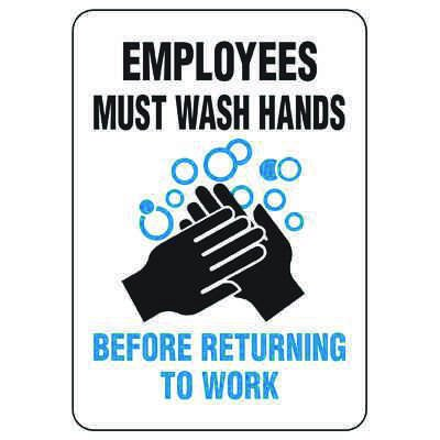 Employees Must Wash Hands Before Returning To Work Sign (w/ Graphic)
