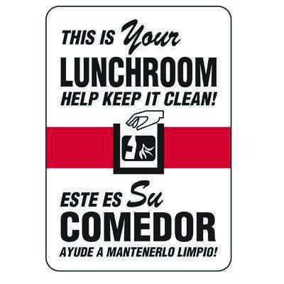 Bilingual Keep Lunchroom Clean Sign