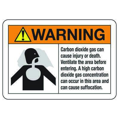 CO2 Extinguishing Systems Signs - High CO2 concentration can occur