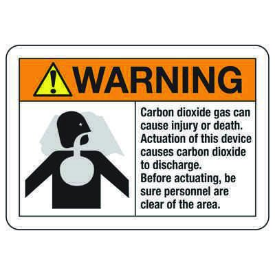 CO2 Extinguishing Systems Signs - Actuation causes CO2 to discharge
