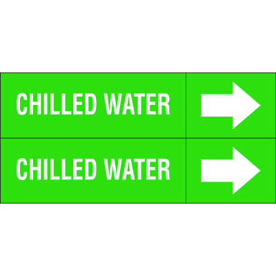 Weather-Code™ Self-Adhesive Outdoor Pipe Markers - Chilled Water