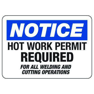Hot Work Permit Safety Signs - Required for All Welding and Cutting Operations