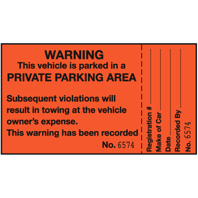 Parking Violation Labels - Warning Vehicle Is Parked In A Private Area
