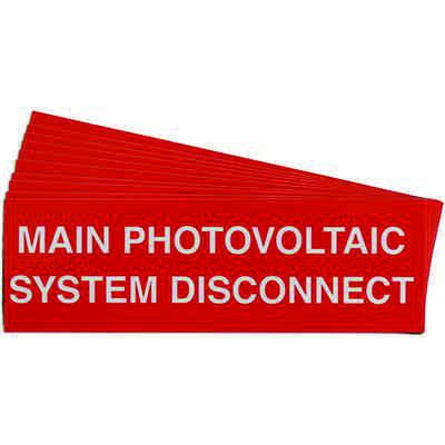 """""""Main Photovoltaic System Disconnect"""" Solar Warning Labels"""
