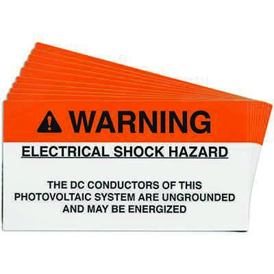 Ungrounded DC Conductors Solar Warning Labels
