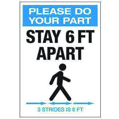 Stay 6 FT Apart 3 Strides Portrait Label