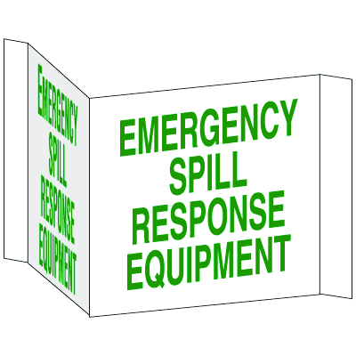 3-Way View Spill Control Signs - Emergency Spill Response Equipment
