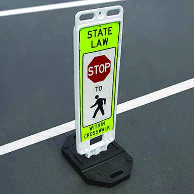 TrafFix Devices State Law Stop for Pedestrians Within Crosswalk Safety Signs