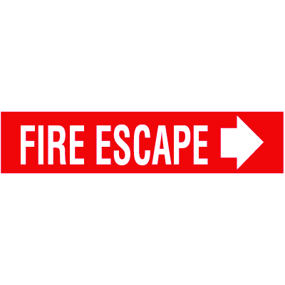 Fire Escape with Right Arrow Self-Adhesive Vinyl Exit Signs