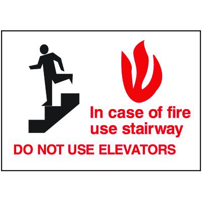 In Case Of Fire Use Stairway Self-Adhesive Vinyl Fire Exit Signs