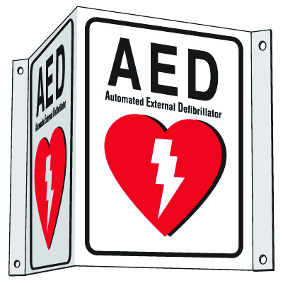 3-Way Plastic AED Sign - Automated External Defibrillator