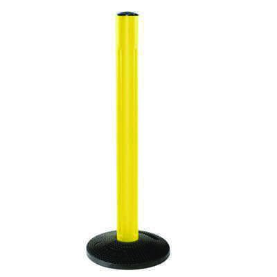 Beltrac® All Weather Stanchion - Yellow Receiver Post with Rubber Base